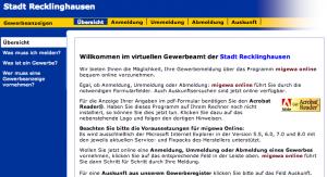 Screenshot: Online Gewerbeanmeldung Recklinghausen