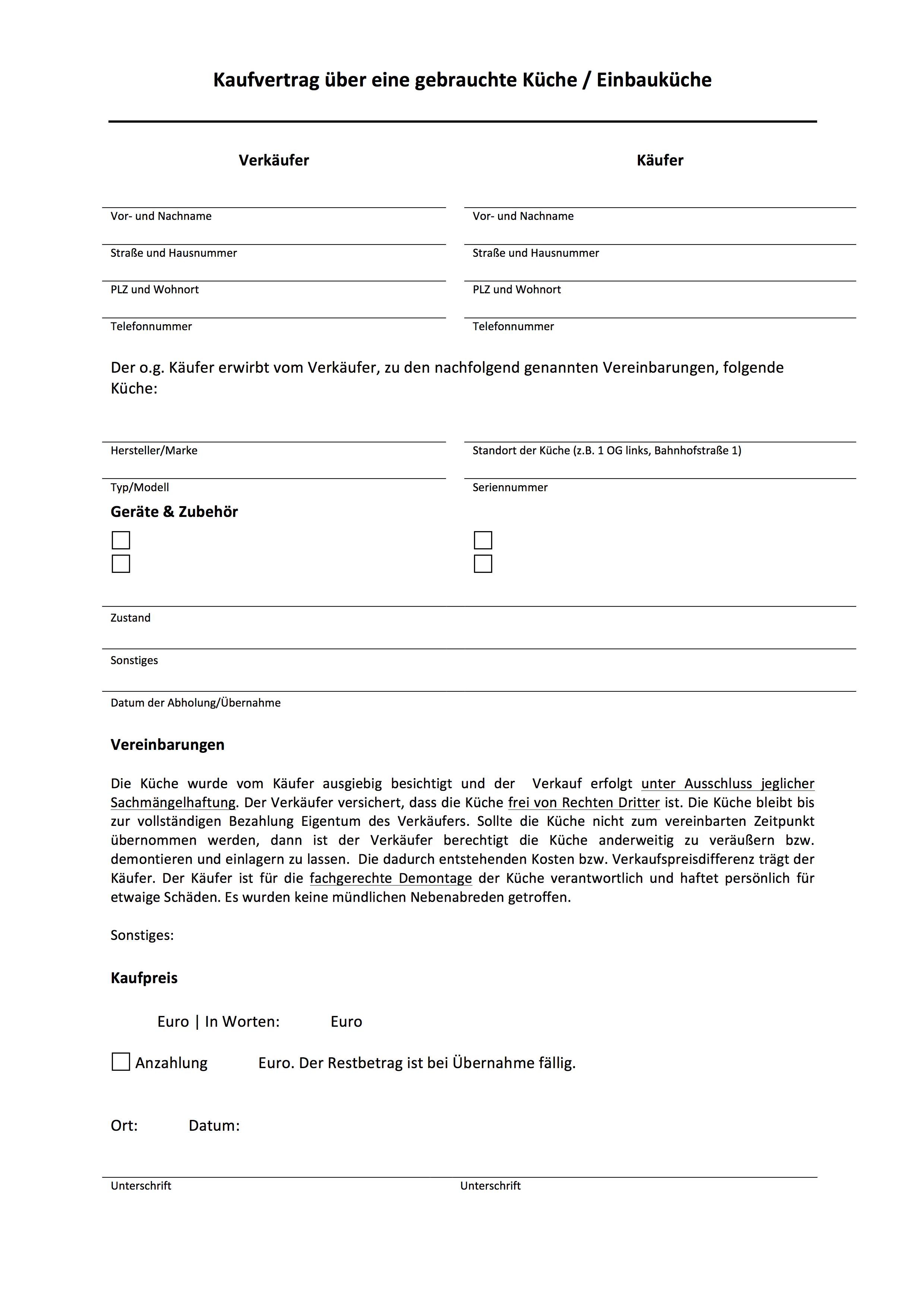 Muster: Kaufvetrag über eine gebrauchte Küche / Einbauküche