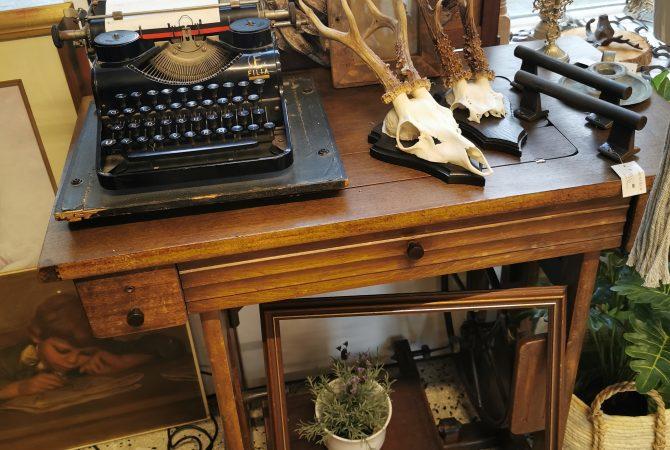 Nähmaschine Geweihe Schreibmaschine alt